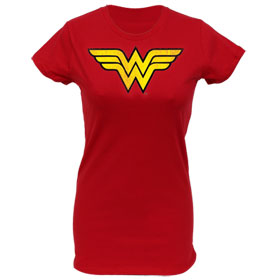 Wonder Woman Distressed Logo Junior's T-Shirt